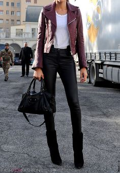 Street Style in Milano. Love the burgundy leather jacket