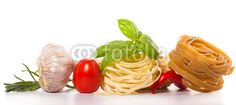 tomatoes and pasta composition isolated on white