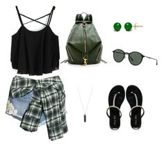 """Summer Walk"" by aggelikipapkon ❤ liked on Polyvore featuring H&M, Miss KG, Faith Connexion, Rebecca Minkoff, Ray-Ban and Karen Kane"