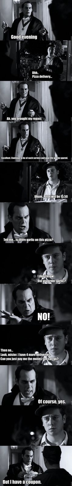 Dracula ordering a pizza   One of my all-time favorite episodes of Supernatural.