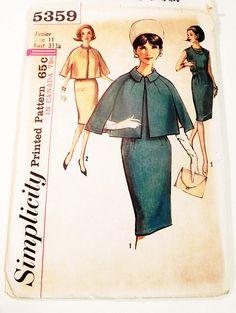 1960s Mad Men Sleeveless Wiggle Dress  Cape sewing pattern