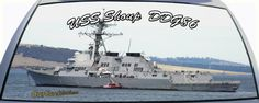USS Shoup is DDG86 a US Navy destroyer ship on a rear window graphic mural.