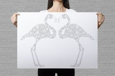 This piece makes a perfect DIY gift for a best friend or for you beloved one. Just color in the flamingos in your giftees favorite colors! The hidden heart between the bird's heads also makes a classy but sweet message <3 The hardest part is actually giving away the poster :D don't worry - you can always keep it for the crazy flamingo lady in you!