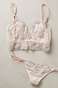 Eberjey Moonbeam Bralette and Thong - anthropologie.com