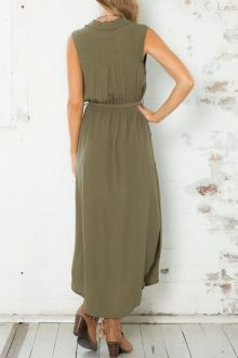 Army Green Sleeveless V Neck Split Dress