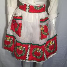 Vintage Christmas Holiday Hostess Apron Wreath on Pockets with White Organza with Bells Ties in Back Mid century 50s UGLY CHRISTMAS SWEATER by UglySweaters4U on Etsy