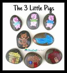 The 3 Little Pigs Story Stones by StoneCraftForYou on Etsy