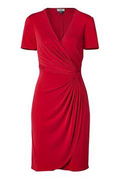 ISSA  Red Draped Waist Silk Dress