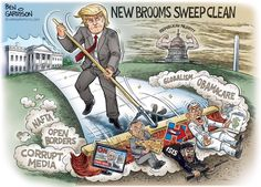 New Brooms Sweep Clean Ben Garrison Cartoon Chelsea Clinton, George Soros, Trump Cartoons, Political Cartoons, Political Satire, Political Science, Steven Tyler, Barack Obama, Obama Hillary