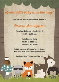 Woodland baby shower invitations with by freshlysqueezedcards  freshlysqueezedcards.etsy.com