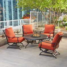 Superbe Hampton Bay Redwood Valley 5 Piece Patio Fire Pit Seating Set With Quarry  Red Cushions