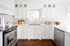 Lux Decor: White u-shaped kitchen with peninsula and hardwood floors.