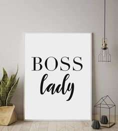 BOSS LADY, Printable Art, Work Decor, Office Poster, Wall Art, Printable Typography, Inspirational Poster, Instant Download