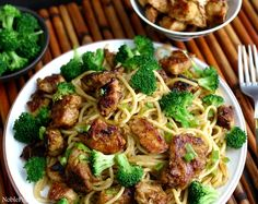 Sticky Asian Chicken Spaghetti with Broccoli