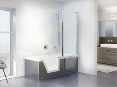 Cool-modern-freestanding-rectangular-bathtub-shower-combination-with-awesome-wooden-vanity-and-large-ceramic-vessel-sink-small-bathroom-design-976x732