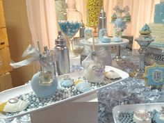 Glittery desserts at a boy baby shower party! See more party planning ideas at CatchMyParty.com!