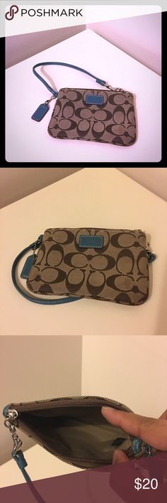 Authentic Coach Wristlet Authentic cute wristlet by Coach.  Shows a little worn on the right bottom corner. Clean and still in very good condition. Coach Bags Clutches & Wristlets