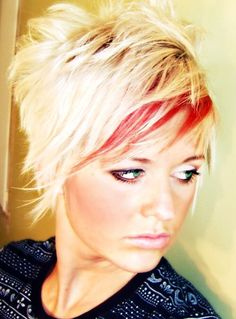 Crazy shaggy cut. Platinum blonde with red highlight at the bang for fun. Washes out to a sweet pink!