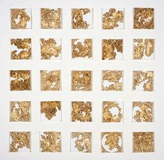 Aureola, by Donna Ruff burn and gold leaf on paper 4 x 4 ea  , series of 25