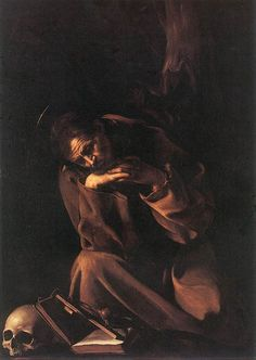 Saint Francis in Meditation, öl von Caravaggio (Michelangelo Merisi) (1571-1610, Italy)