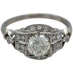 Art Deco Diamante Platinum anel de noivado