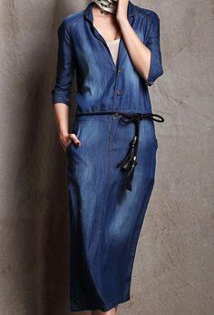 Shop Blue V Neck Long Sleeve Single Breasted Denim Dress online. SheIn offers Blue V Neck Long Sleeve Single Breasted Denim Dress & more to fit your fashionable needs. Estilo Jeans, Mode Jeans, Mein Style, Mode Hijab, Denim Outfit, Look Chic, Denim Skirt, Denim Dresses, Dresses Dresses