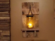 Mason jar Candle Holder Rustic Country by TeesTransformations Mason Jar Candle Holders, Rustic Candle Holders, Candle Holder Decor, Lantern Candle Holders, Mason Jar Candles, Candle Lanterns, Rustic Lanterns, Rustic Candles, Rustic Wood