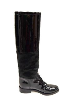 Chanel Black Calves Hair Patent Leather CC Embossed Pull On Boots Sz 35.5 250958 #Chanel #KneeHighBoots #dayorevening