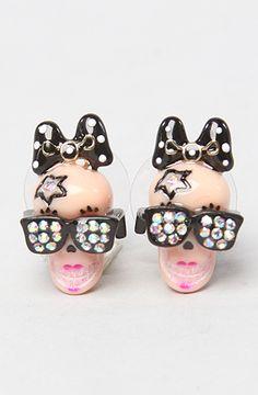 Betsey Johnson The Film Noir Skull Girl Stud Earrings