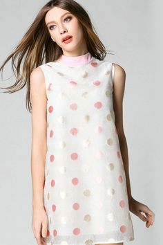 LUCLUC Pink Polka Doted Sleeveless Dress - LUCLUC