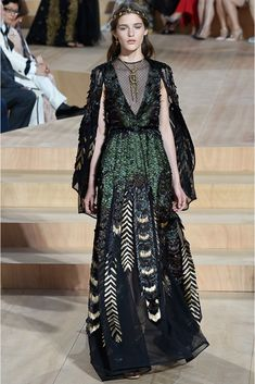 Valentino | Fall 2015 Couture | 40 Green/black feathered caped maxi dress