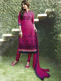 Hotpink Color Long Straight Suit with Churidar