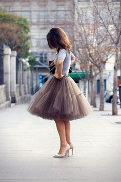 BROWN+TULLE+SKIRT+BALLET+FULL+CIRCLE+FLARE+MIDI+KNEE+LENGTH+HIGH+WAIST+SKIRT+BRIDESMAID+WEDDING