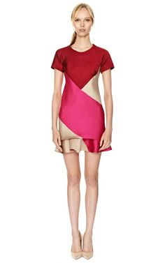 Tri Tone Colorblocked Dress by Ostwald Helgason Now Available on Moda Operandi