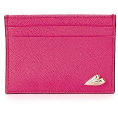 DIANE VON FURSTENBERG Caviar Leather Tuxedo Card Case ($48) ❤ liked on Polyvore featuring bags, wallets, shocking pink, neon pink bag, genuine leather bag, real leather wallet, pink leather wallet and leather bags