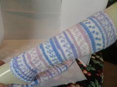 Leg warmers in self patterning yarn £17.50