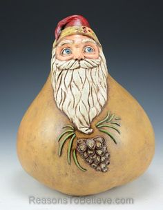 Northwood pines Santa gourd - A unique, one of a kind Santa Claus creation designed, sculpted, painted by hand and signed by the artist, Sheryl Parsons