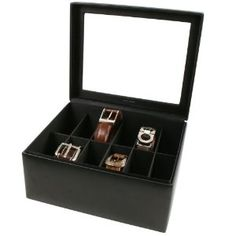12 Belt Box Valet Organizer Large Compartments Black Leather Glass Top Tech  Swiss.  59.95. 12 Belt Box to Keep Belts Separated 4b5bc0b89e7d2