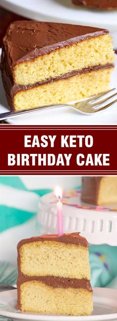 A delightful keto birthday cake is made with almond flour. The fluffy yellow cake is frosted with a rich chocolate frosting. This cake is wo. Paleo Dessert, Best Dessert Recipes, Fun Desserts, Cake Recipes, Dessert Ideas, Keto Recipes, Keto Birthday Cake, Keto Cake, Chocolate Frosting