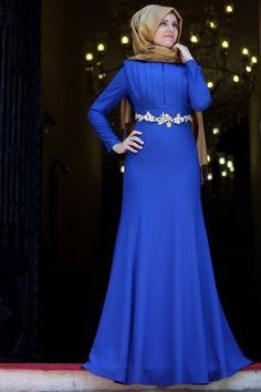Merve Gündüz Saks Prenses Abiye Elbise