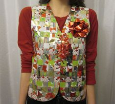 Recycled Wrapping Paper Ugly Sweater Vest Last minute Ugly Sweater party? Make one out of wrapping paper! LOL Recycled Wrapping Paper Ugly Sweater Vest The post Recycled Wrapping Paper Ugly Sweater Vest appeared first on Paper Diy. Tacky Christmas Party, Diy Ugly Christmas Sweater, Ugly Sweater Party, Christmas Wrapping, Christmas Crafts, Ugly Sweaters Diy, Christmas Time, Christmas Ideas, Holiday Sweaters