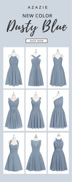 Dress your bridesmaids in our new Dusty Blue! Wedding tip: Order color swatches to see the colors in person for easy wedding planning!