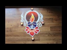 Simple freehand Diwali special Diya rangoli designs with colours - Diwali Rangoli design Best Rangoli For Diwali, Easy Rangoli Designs Diwali, Rangoli Simple, Rangoli Designs Latest, Free Hand Rangoli Design, Rangoli Border Designs, Small Rangoli Design, Rangoli Patterns, Rangoli Designs Images