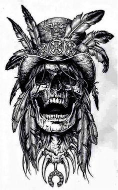 Skull with Head-Dress Native American Tattoo Design - Skull Symbol of Death and Decay