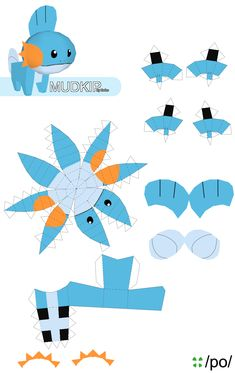 7 Best Images of Printable Pokemon Papercraft Mudkip - Easy Pokemon Papercraft Mudkip, Pokemon Papercraft Templates and Pokemon Papercraft Print Outs Easy Pokemon, 3d Pokemon, Pokemon Craft, Pokemon Party, Pokemon Birthday, Pikachu, 3d Paper Art, Paper Crafts Origami, Diy Paper