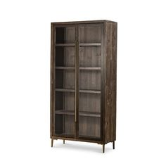 A modern appeal is found in this semi rustic glass door cabinet. The Wyeth cabinet frame is constructed of a reclaimed pine with with a Dark Carbon finish. Glass Cabinet Doors, Glass Shelves, Glass Doors, Living Room Storage, Storage Spaces, Big Cushions, Interior Design Photos, Modern Spaces, Design Trends