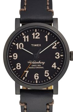 Free shipping and returns on Timex® 'Waterbury' Leather Strap Watch, 40mm at Nordstrom.com. A stitched leather strap enhances the rugged good looks of a classic round watch featuring INDIGLO lighting on the easy-to-read dial.