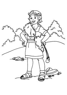 David and goliath coloring pages throwing the stones