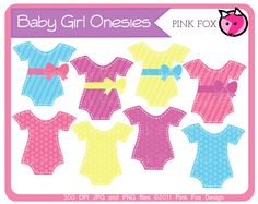 baby shower clip art, baby girl onesies, INSTANT DOWNLOAD, digital image, paper crafting, journaling,  digital craft