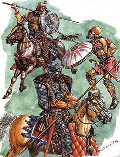 """Scythian warrior, V century BC - Pontic Greek hoplite, IV century BC - Scythian heavy cavalryman, V century BC"", Mikhael V Gorelik Ancient Persia, Ancient Art, Ancient History, Black Buddha, Warrior Spirit, Greek History, Dark Ages, Ancient Civilizations, Military History"
